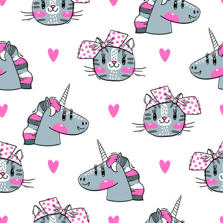 Seamless pattern with faces of cats and rainbow unicorn. Fashion kawaii animal. Vector illustration. Çizim