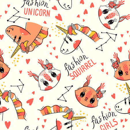 Seamless pattern with faces of squirrel and rainbow unicorn. Fashion kawaii animal. Vector illustration. Foto de archivo - 122516146