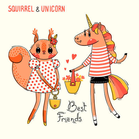 Cute card with best friends. Baby squirrel and rainbow unicorn in fashionable clothes. Can be used for t-shirt print, kids wear design. Vector illustration. Foto de archivo - 122435168