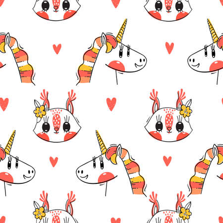 Seamless pattern with faces of squirrel and rainbow unicorn. Fashion kawaii animal. Vector illustration. Foto de archivo - 122435171