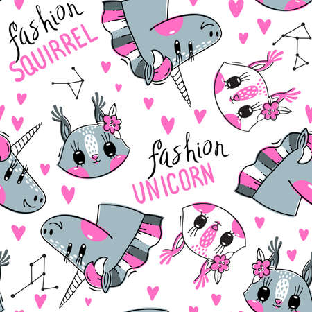 Seamless pattern with faces of squirrel and rainbow unicorn. Fashion kawaii animal. Vector illustration Ilustracja
