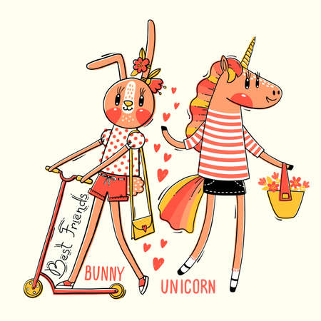 Cute card with best friends. Baby bunny and rainbow unicorn in fashionable clothes. Kawaii animal. Can be used for t-shirt print, kids wear design. Vector illustration.