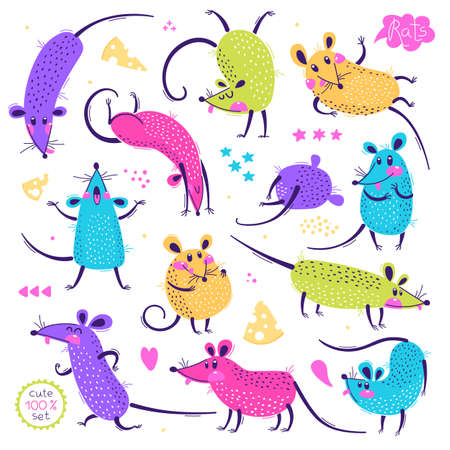 Set of funny rats for design. Cute little mice in different poses. Merry mouse romp. Vector illustration 일러스트