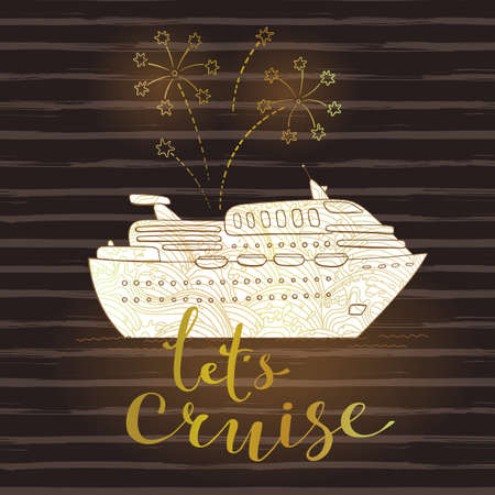 Cute card with a cruise ship and fireworks. Concept for honeymoon trip, vacation, journey, travel. Vector illustration.