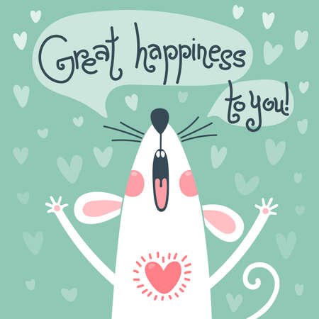 White rat congratulates and wishes great happiness to you. Greeting card with a cute mouse. Vector illustration