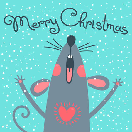 Cute gray rat wishes Merry Christmas. Postcard with a symbol of 2020. Vector illustration Stock Illustratie
