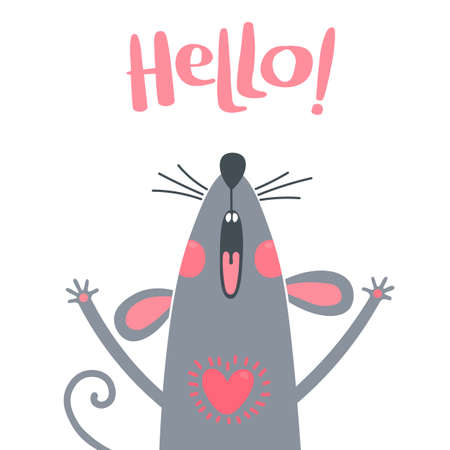 Greeting card with a cute rat. Sweet mouse says hello. Vector illustration