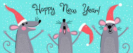 Cute gray rats in Santas hats wishes Happy New Year. Postcard with a symbol of 2020. Vector illustration