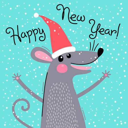Cute gray rat in Santas hat wishes Happy New Year. Postcard with a symbol of 2020. Vector illustration