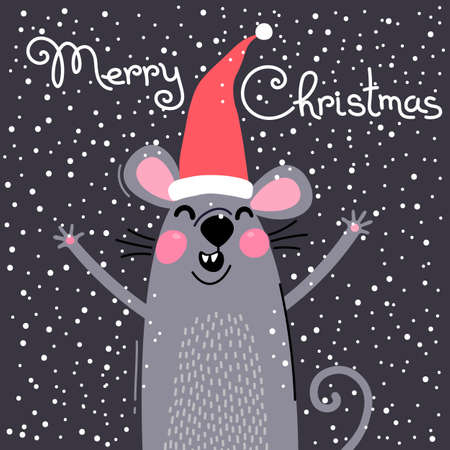 Cute gray rat in Santas hat wishes Merry Christmas. Postcard with a symbol of 2020. Vector illustration Ilustracja