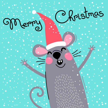 Cute gray rat in Santas hat wishes Merry Christmas. Postcard with a symbol of 2020. Vector illustration 일러스트