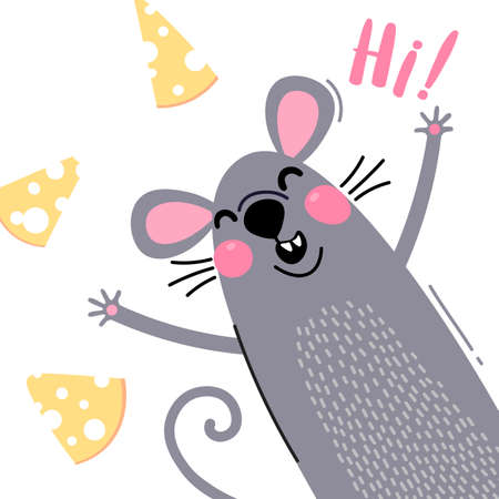 A welcome card with a cute and funny rat. The mouse says hi. Vector illustration