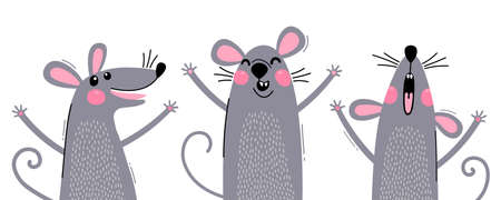 Set of funny rats for design. Cute little mice in different poses. Merry mouse romp. Vector illustration Ilustracja