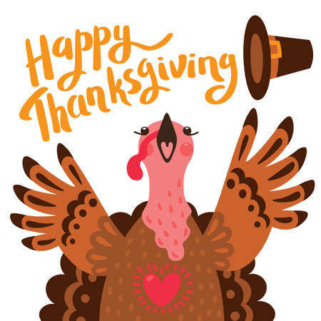Happy Thanksgiving card with turkey. Cartoon Character Turkey
