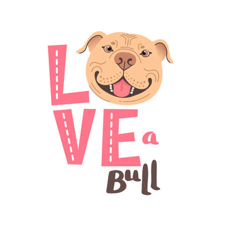 The inscription on the t-shirt of the owner of the dog Pitbull. Word LOVE with a American Staffordshire Pit Bull Terrier face. Vector illustration Ilustracja