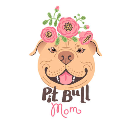 Pit Bull Mom. Image of happy mother dog. American Staffordshire Pitbull Terrier face. Vector illustration