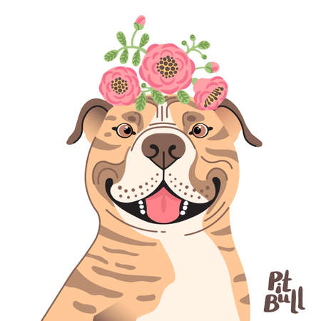 Happy American Staffordshire Pit Bull Terrier. Best friend - Pit Bull dog and wreath of flowers in the style of cartoon. Vector illustration