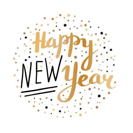 Inscription Happy New Year. Greeting card. Vector illustration