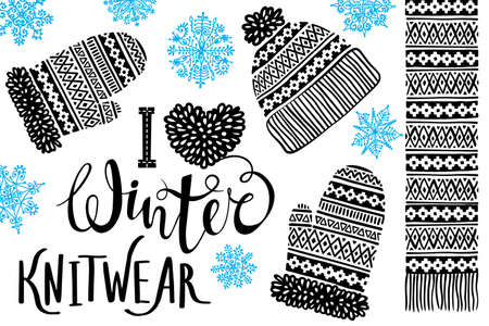 I love Winter Knitwear. Knitted woolen hat, mitten, scarf with patterns, snowflakes. Winter sale shopping concept to design banners, price or label. Isolated vector illustration