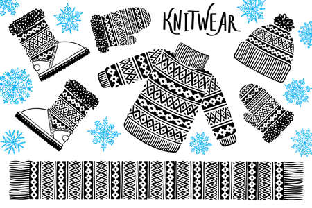I love Winter Knitwear. Sweater, hat, mitten, boot, scarf with patterns, snowflakes. Winter sale shopping concept to design banners, price or label. Isolated vector illustration