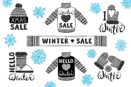 Set drawings knitted woolen clothing and footwear. Sweater, hat, mitten, boot, scarf with patterns. Winter sale shopping concept to design banners, price or label. Isolated vector illustration