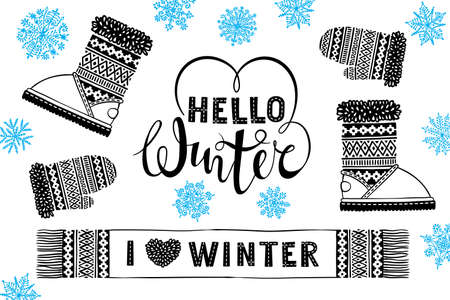 Hello winter. I like winter. Mitten, boot, scarf with patterns, snowflakes. Winter sale shopping concept to design banners, price or label. Isolated vector illustration