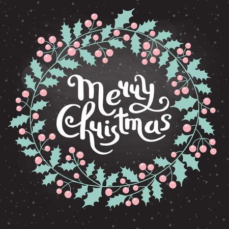 Holly Christmas wreath with the inscription Merry Christmas. Holiday card. Vector illustration 向量圖像