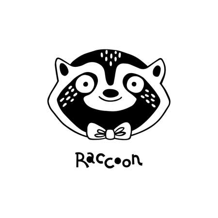 Isolated vector illustration. Stylized raccoon face. Hand drawn linear sketch. Doodle style. Black silhouette on white background 向量圖像