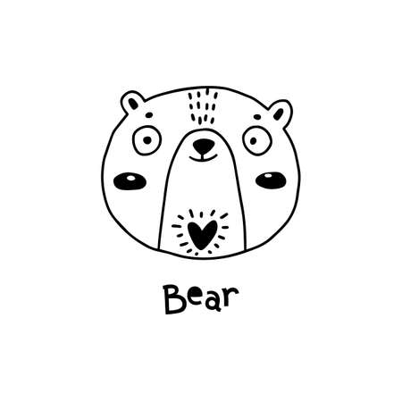 Cute, simple bear face cartoon style. Vector illustration.