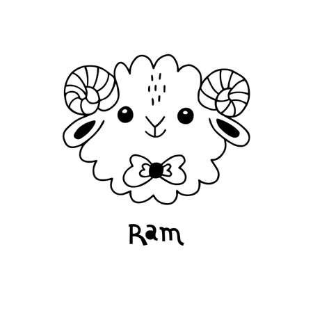 Cute, simple ram face cartoon style. Vector illustration 일러스트