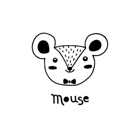 Cute mouse, simple rat face cartoon style. Vector illustration 일러스트