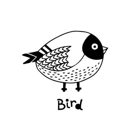 Vector hand drawn isolated element, little bird. Cute character. Simple modern design.