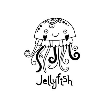 Cute jellyfish in cartoon style. Vector illustration