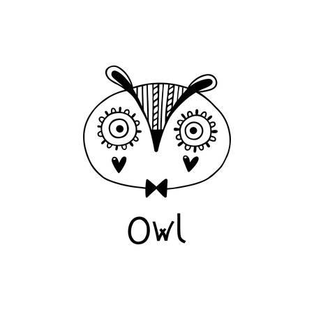 Cute, simple owl face cartoon style. Vector illustration 일러스트