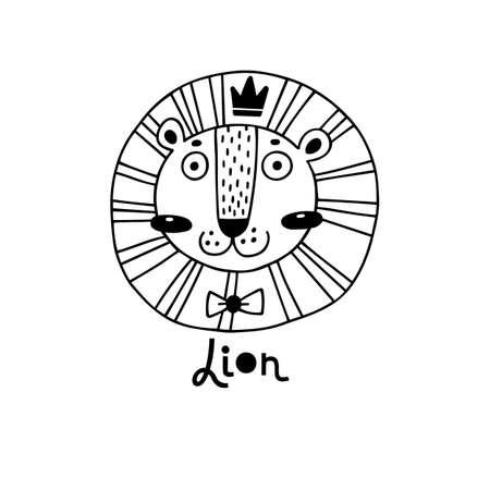 Cute, simple lion face cartoon style. Vector illustration