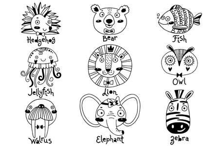 Avatars funny animal faces Hedgehog Bear Fish Jellyfish Lion Owl Walrus Elephant Zebra. Vector illustration