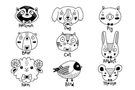 Avatars funny animal faces Raccoon Dog Pig Bear Ram Hare Rabbit Cat Bird Mouse Rat. Vector illustration