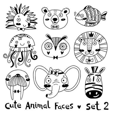 Avatares caras divertidas de animales Erizo Oso Pez Medusa León Búho Morsa Elefante Cebra. Ilustración vectorial