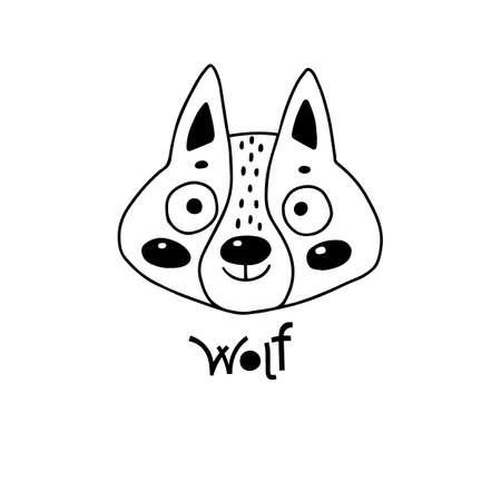 Avatar cute face wolf cub portrait. Vector illustration in cartoon style 일러스트