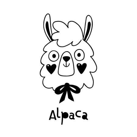 Avatar cute face alpaca portrait. Vector illustration in cartoon style