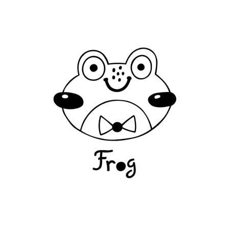 Avatar cute face frog portrait. Vector illustration in cartoon style