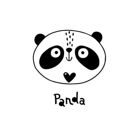 Avatar cute face panda portrait. Vector illustration in cartoon style