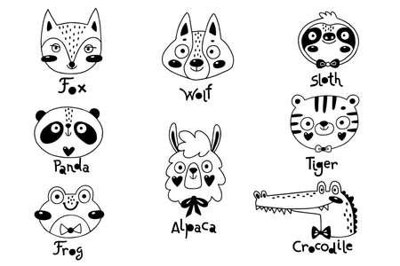 Avatars funny animal faces Sloth Tiger Wolf Alpaca Frog Panda Fox Crocodile. Vector illustration