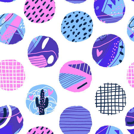 Polka dot seamless pattern. Abstract textured circle elements. Modern vector background