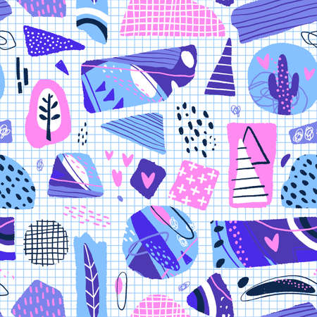 Abstract seamless pattern. Modern background with abstract figures, stripes and floral elements. Vector illustration