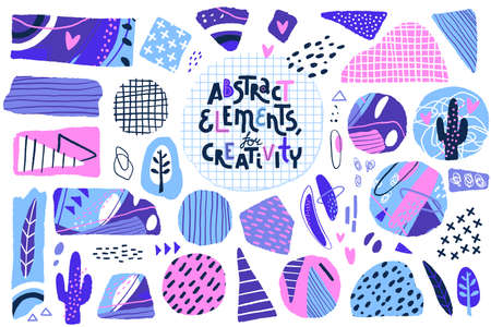 Abstract cut out shapes. Textured hand drawn elements for scrapbooking, collage and other creative work. Vector set