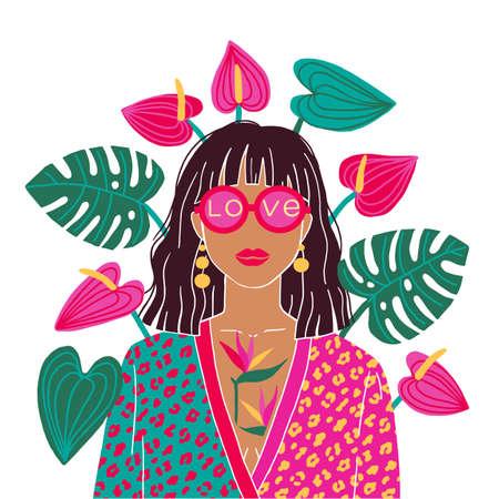 Portrait of a brunette woman in the urban jungle. Fashion print. Vector illustration.