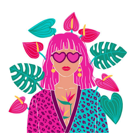 Portrait of a pink hair woman in the urban jungle. Fashion print. Vector illustration.