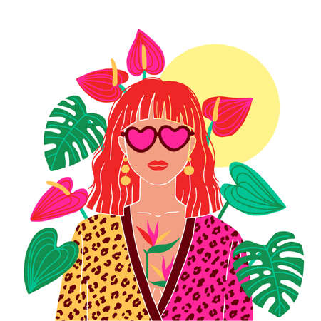 Portrait of a red hair woman in the urban jungle. Fashion print. Vector illustration.