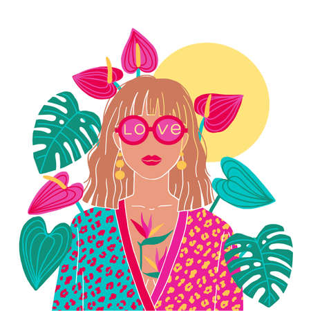 Portrait of a blond woman in the urban jungle. Fashion print. Vector illustration.